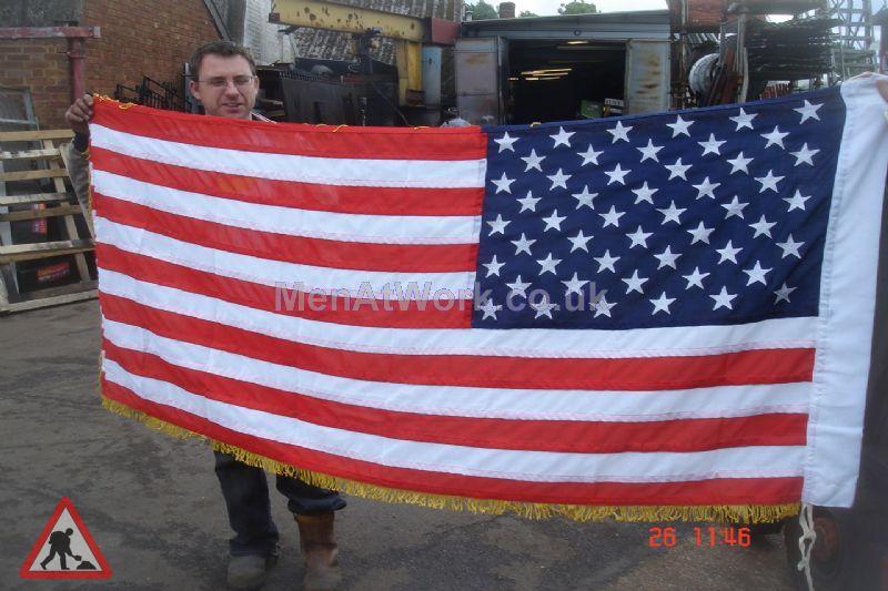 American Flag - 3′ x 6′ gold trim