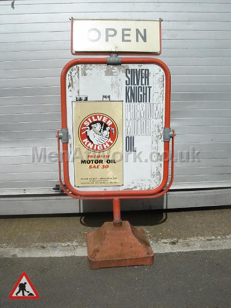 Garage Forecourt Signs - Advert and Open Sign Front View