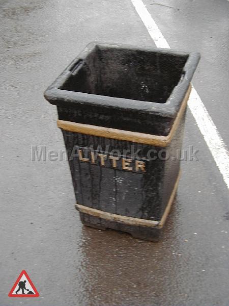 Street Bin – Square Black - Cast Rubbish Bin