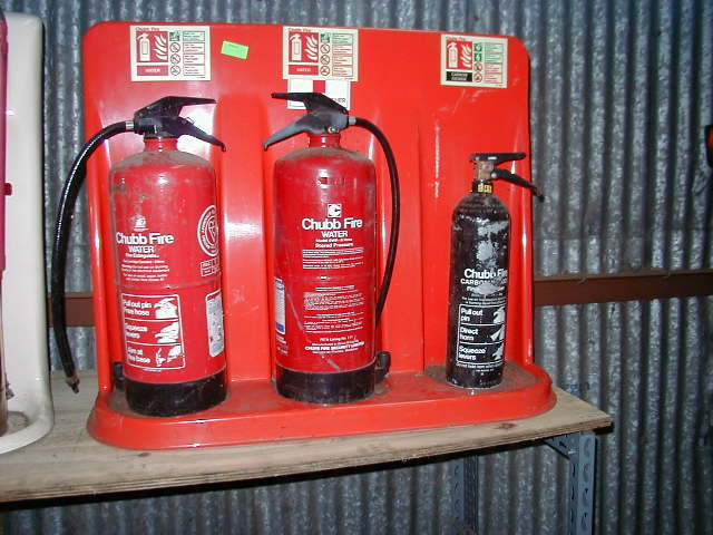 Fire Extinguishers with Bases - Extinguishers and Rack