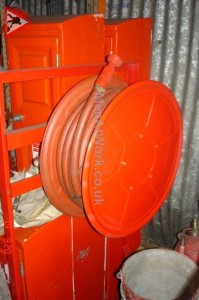 Mounted Fire Hose on Stand - Fire Hose on Stand