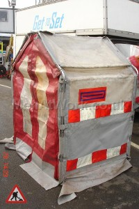 Modern Roadworks / BT Hut - Folding red and white tent (4)