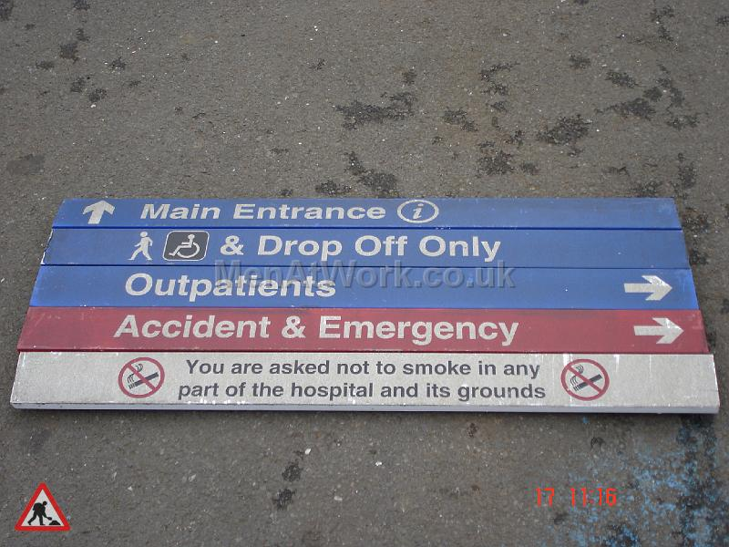 Hospital Directions Sign and Stand - Close up