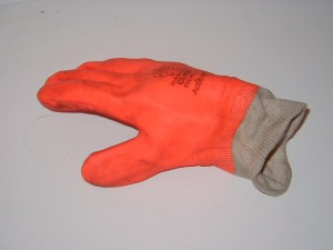 Building Site Workman Protective Clothing - Orange PVC gloves
