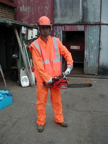 Chainsaw and boiler suit - Orange bolier suit, Orange hi viz waistcoat