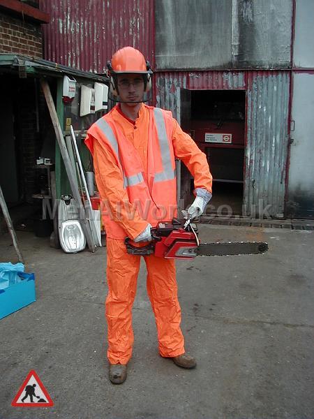 High visibility clothing - Orange bolier suit, Orange hi viz waistcoat