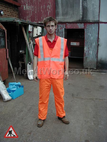 High visibility clothing - Orange dungarees with hi viz orange waistecoat