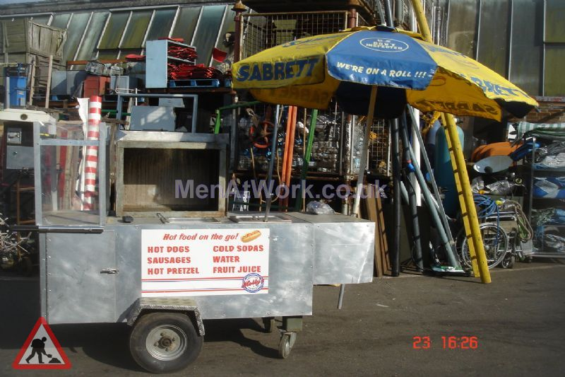 Pedestrian Hot Dog Stand - With umbrella