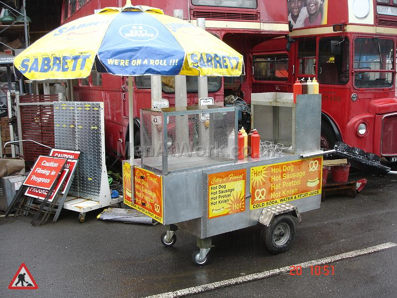Pedestrian Hot Dog Stand - Side View – Dressed