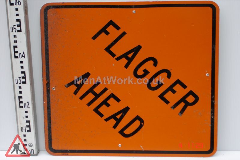 American Street Signs - flagger ahead