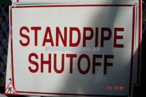 American Fire Signs - Standpipe shutoff