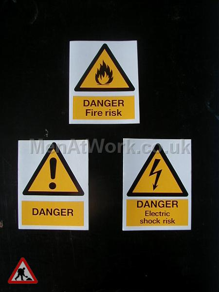 Building site warning signs - health and safety signs