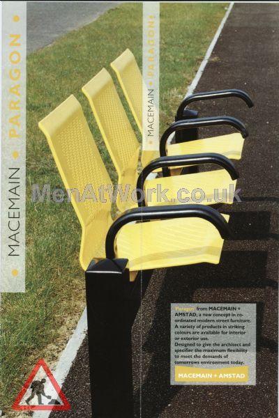 Railway platform seats - Yellow and black