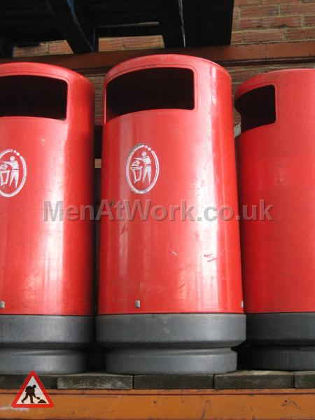 Street Bins – Red - red bins close up