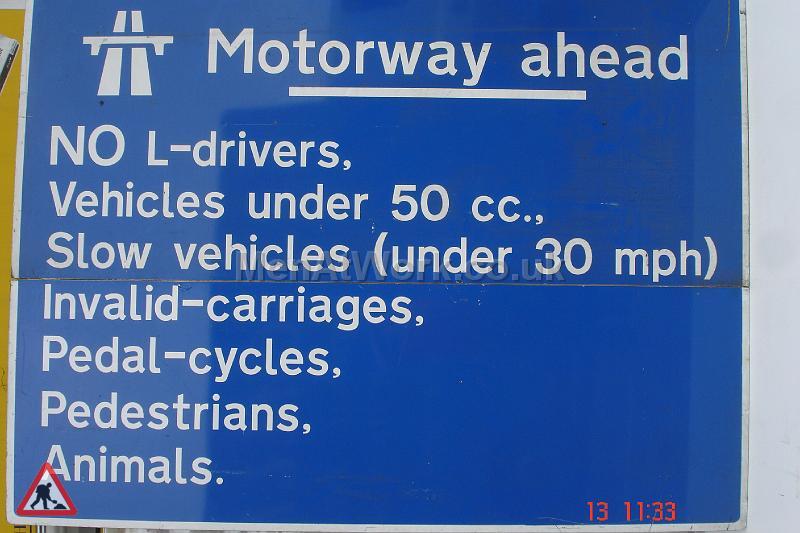 Motorway Signs - 8ft wide x 6ft drop