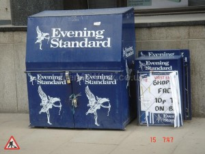 Evening Standard Newspaper Stand - Evening Standard STall Closed