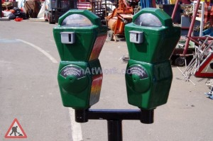 Twin Parking Meters - Parking meter green 1a
