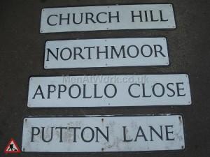 Street Name Signs – Various - church lane northmoor appollo close