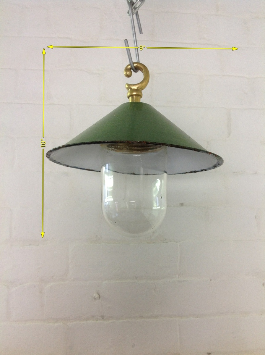 Industrial Lights - Pendant Light Green Enamel Shade 9in across x 10in Drop 10 Available