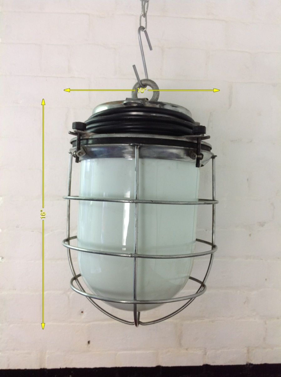 Industrial Lights - Pendant Light White Glass 10in x 16in 5kg 10 Available