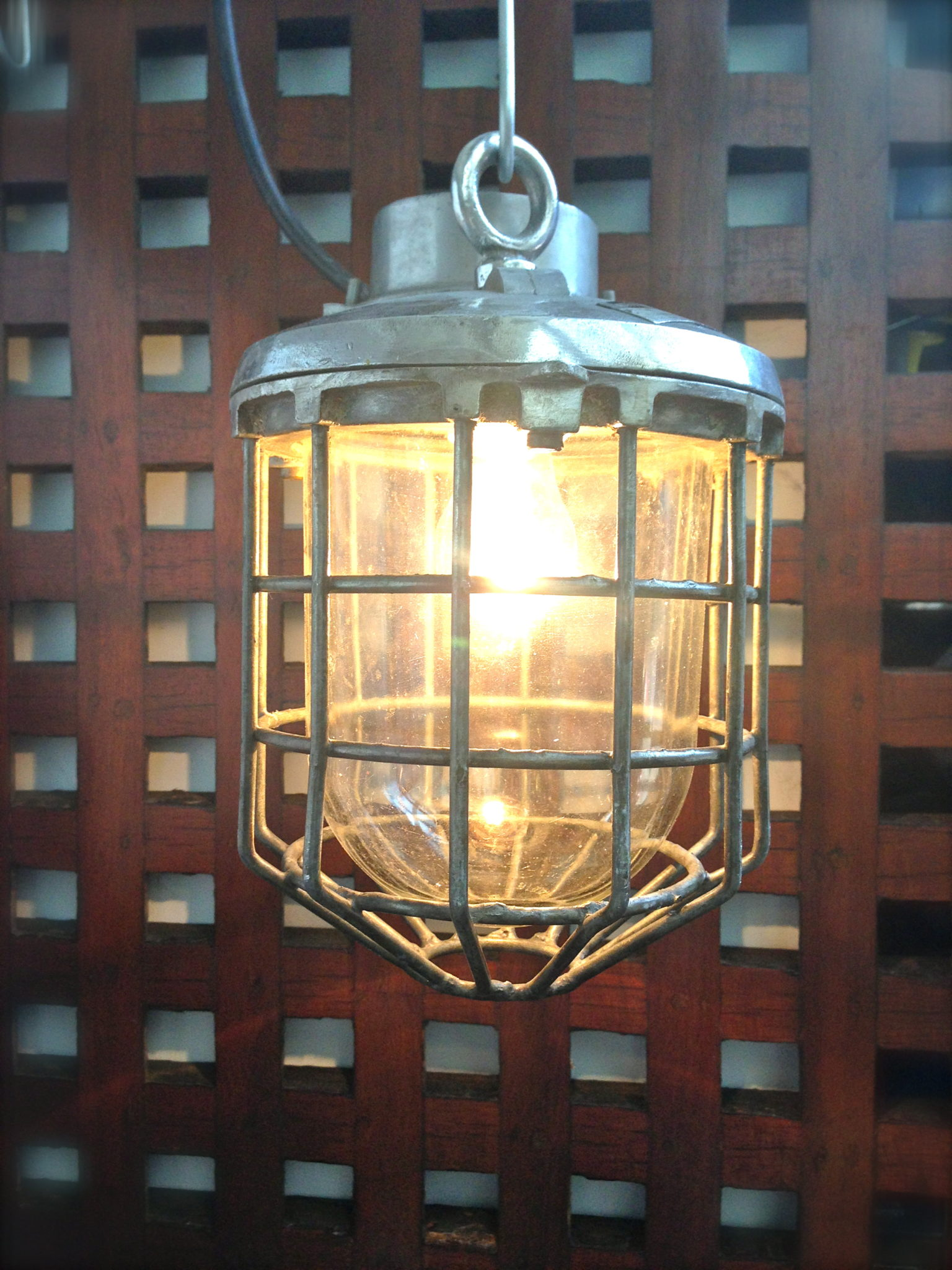 Caged Pendant Light 12ins drop x 8ins across - IMG_4509