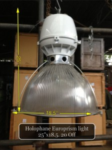 (7) Holophane Europrism Pendant Light 25″ x 18 1/2″  40 Available - Holophane Light