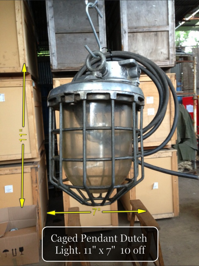 (4) Dutch Caged Pendant Light 11″ x 7″  10 Available - Dutch Light