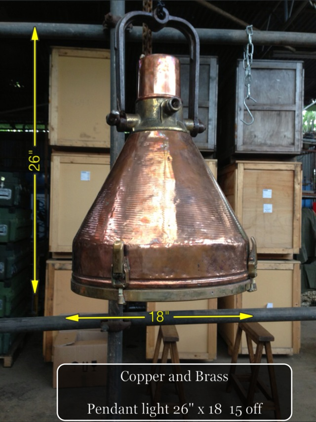 (10) Copper and Brass Pendant Light 26″ x 18″  20 Available - Copper and Brass Light