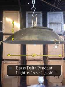 (3) Delta Brass Pendant Light 12″ x 24″  5 Available - Delta Lamp