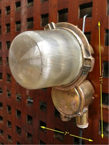 No 42. Bulkhead or Ceiling Light in Brass 11″ x 7″ 20 available -