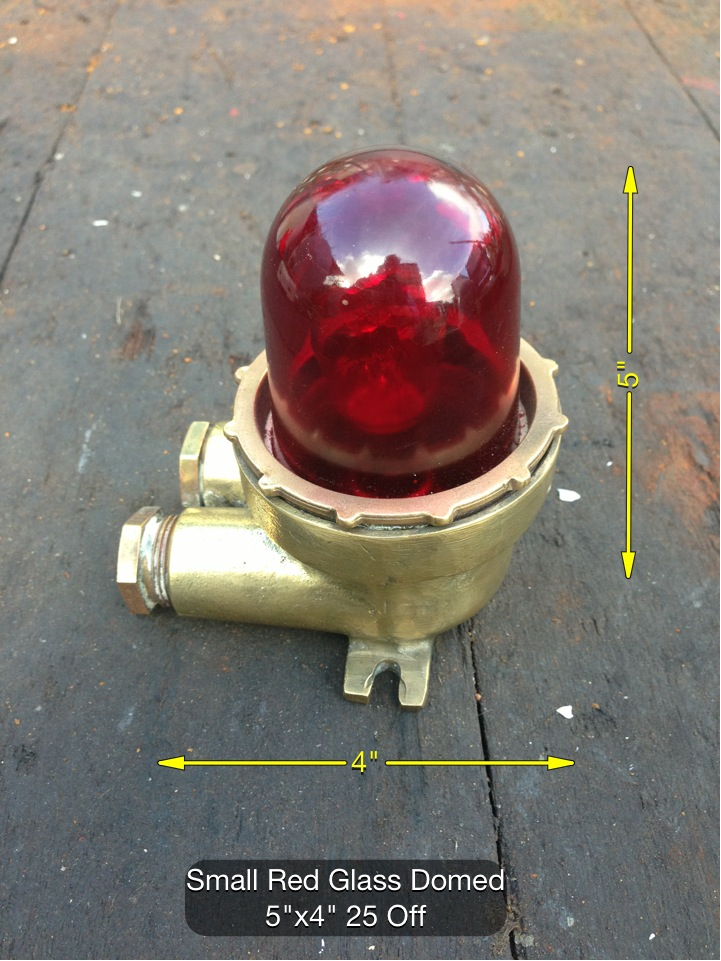(34) Small Red Glass Domed Light 5″ x 4″ 25 Available - Red Warning Light
