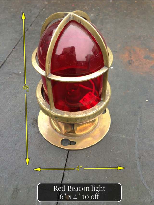 (36) Red Glass Beacon Light 6″ x 4″ 10 Available - Red Glass Beacon Light