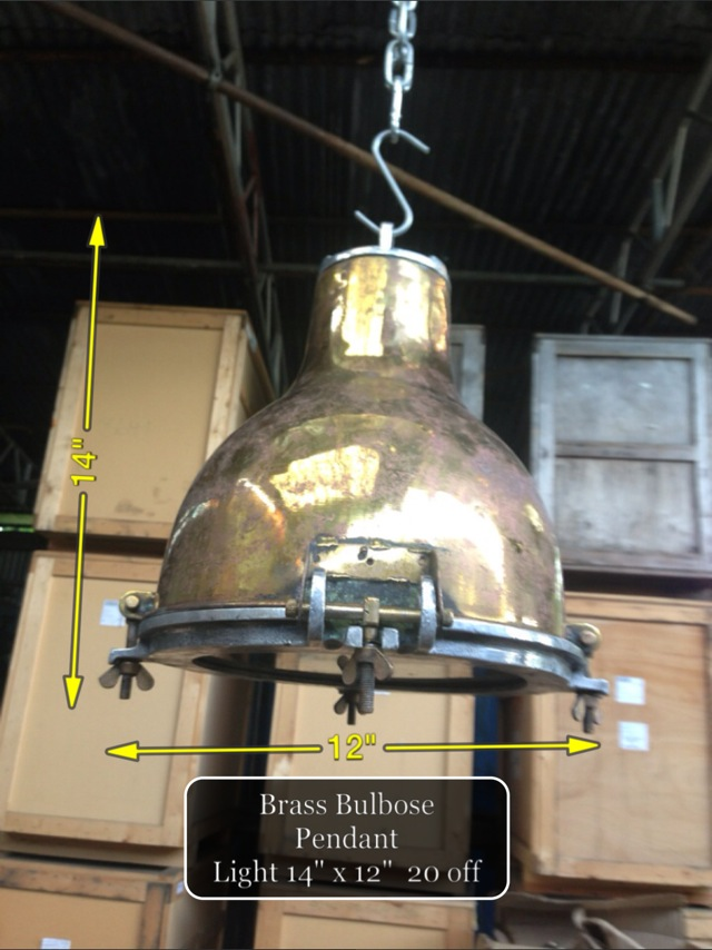 (15) Brass Bulbose Pendant Light 14″ x 12″ 20 available - Brass Light
