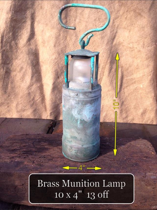 (28) Brass Munition Lamp 10″ x 4″ 13 Available - Brass Munition Lamp