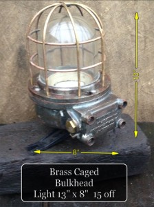 (24) Brass Caged Bulkhead 13″ x 8″ 15 Available - Brass Caged Bulkhead