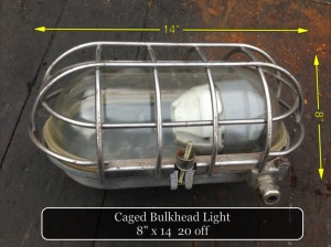 (19) Caged Bulkhead Light 8″ x 14″ 25 available - Caged Bulkhead Light