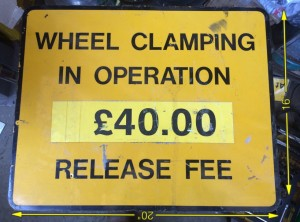 Wheel Clamp Sign 20″ x 16″ -